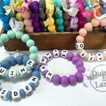 Custom PERSONALIZED Silicone Teething Ring - Baby Toy - Silicone Beads - Teether Chewing Beads - Chew Jewelry Beads - Chew Toy Beads