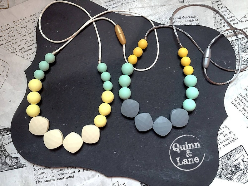 Silicone Teething Necklace CHOOSE COLOR  Bite Beads Nursing image 0