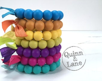 Silicone Teething Ring - Baby Toy - Silicone Beads - Teether Teething Toy - Chew Jewelry Beads - Chew Toy Beads - Classic Round