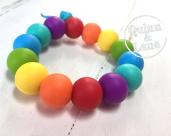 Rainbow Silicone Teething Ring - Baby Toy - Silicone Beads - Teether Teething Toy - Chew Jewelry Beads - Chew Toy Beads - Classic Round