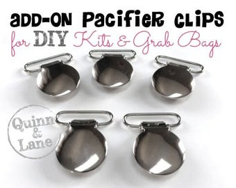 Add-On Pacifier Clips for DIY Silicone Teething Kits and Grab Bags - Make your own Soother Clips - Tutorials available on our Facebook Group