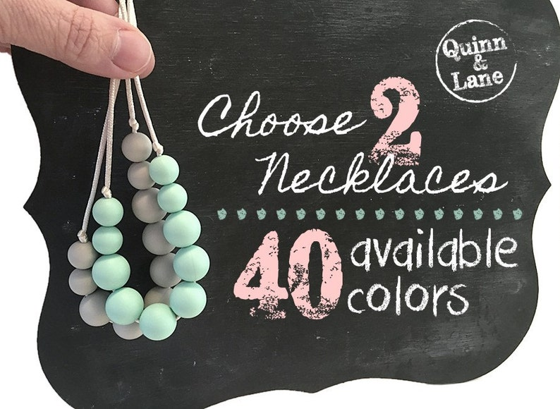 Choose 2 Silicone Teething Necklaces  Bite Beads Nursing image 0