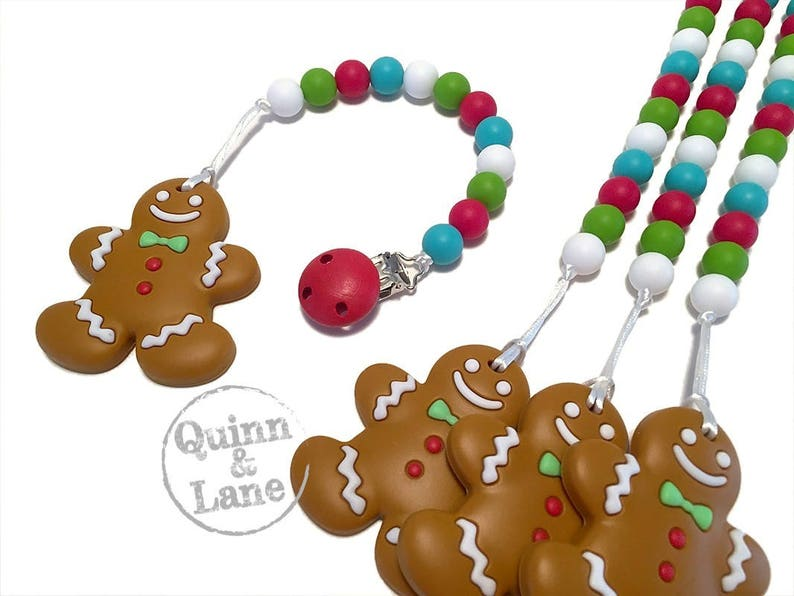 GingerBread Man Pacifier Clip w/ Silicone Teething Ginger image 0