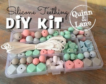 DIY Silicone Teething Kit - Silicone Beads & Supplies - Make Your Own Baby Chew Jewelry Teething Necklace - Icicle/Mint/Candy/Moon (HS)