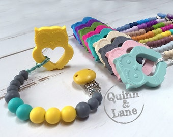Silicone Teething Pacifier Clip & Owl Teether - Bite Beads Universal Soother Clip - Teether Chew Toy Beads