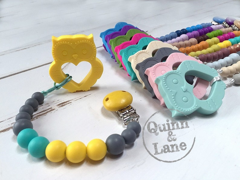Silicone Teething Pacifier Clip & Owl Teether  Bite Beads image 0