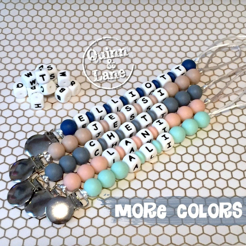 Custom PERSONALIZED Pacifier Clip  Silicone Teething Bite image 0