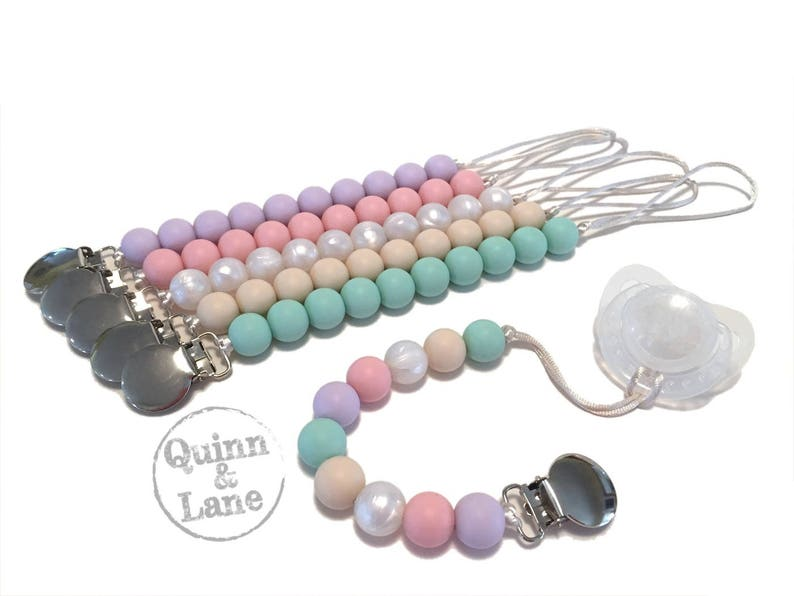 Pacifier Clip  Silicone Teething Soother Clip  Choose Color image 0