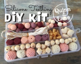 DIY Silicone Teething Kit - Silicone Beads & Supplies - Make Your Own Baby Chew Jewelry Teething Necklace - Blush/Wine/Navajo/Peach (CW)