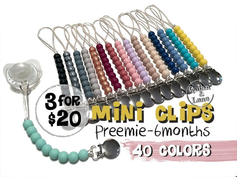 3 for 20  Mini Pacifier Clip  Silicone Teething Choose Color image 0