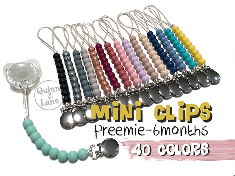 Mini Pacifier Clip  Silicone Teething Choose Color  Baby Toy image 0