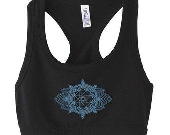 548aaeda4c Sacred Geometry MEHNDI CUBE Mandala Athletic Halter Sports BRA Geometric  Yoga Dance Wear Spandex Top Festival Shirt Crop Top Belly Shirt