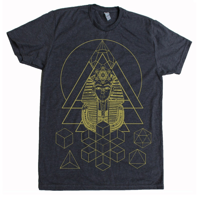 Men's Tee PHARAOH'S DREAM Sacred Geometry Egyptian Charcoal Tee/Yellow