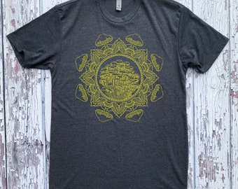 Men's Mushroom Mandala Shirt Psychedelic Tattoo Style Sacred Geometry Shroom Tee
