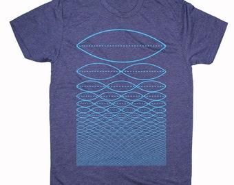 Men's TONE WAVE Music Tee Geometric Overtone Frequency Musician Sacred Geometry Tshirt