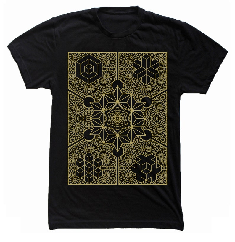 Men's INTERIORS Waking Dream Psychedelic Form Constants Black Tee/Gold