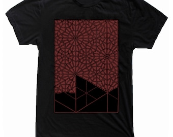 Men's PATTERN RECOGNITION Shirt Sacred Geometry Dotwork Tattoo Style Kaledoscope Psychedelic T-Shirt