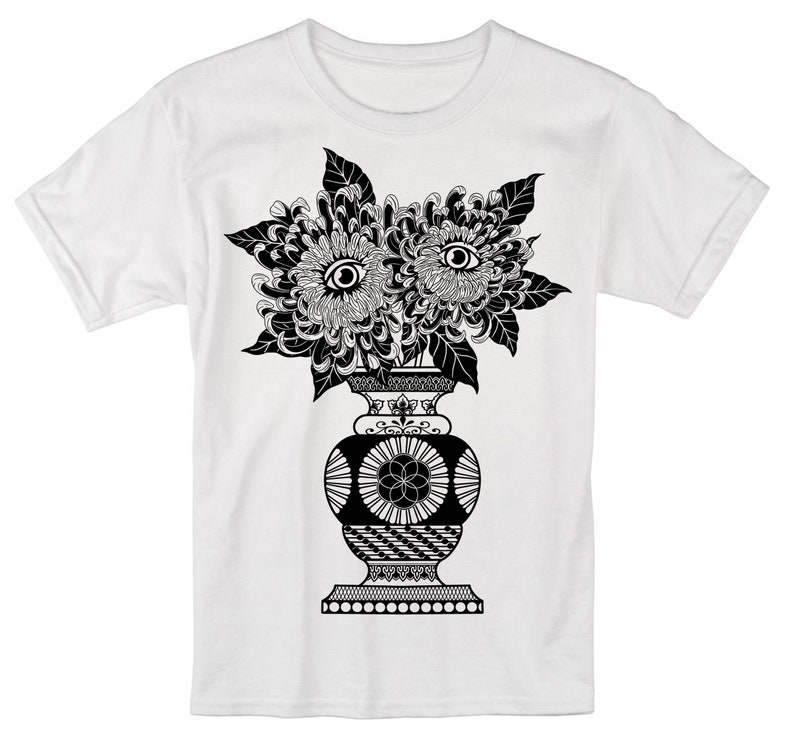 Men's PSYCHIC GARDENS Sacred Geometry Psychedelic White Tee/Black