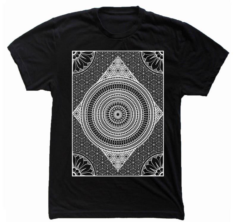 Men's MERIDIANS Mandala Shirt Sacred Geometry Pattern Black Tee/White