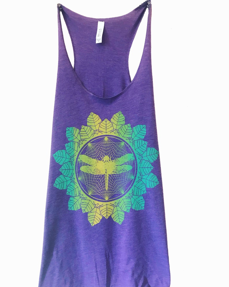 Women's DRAGONFLY Mandala Tank Top Floral Leaves Insect Purple/Multi Ink