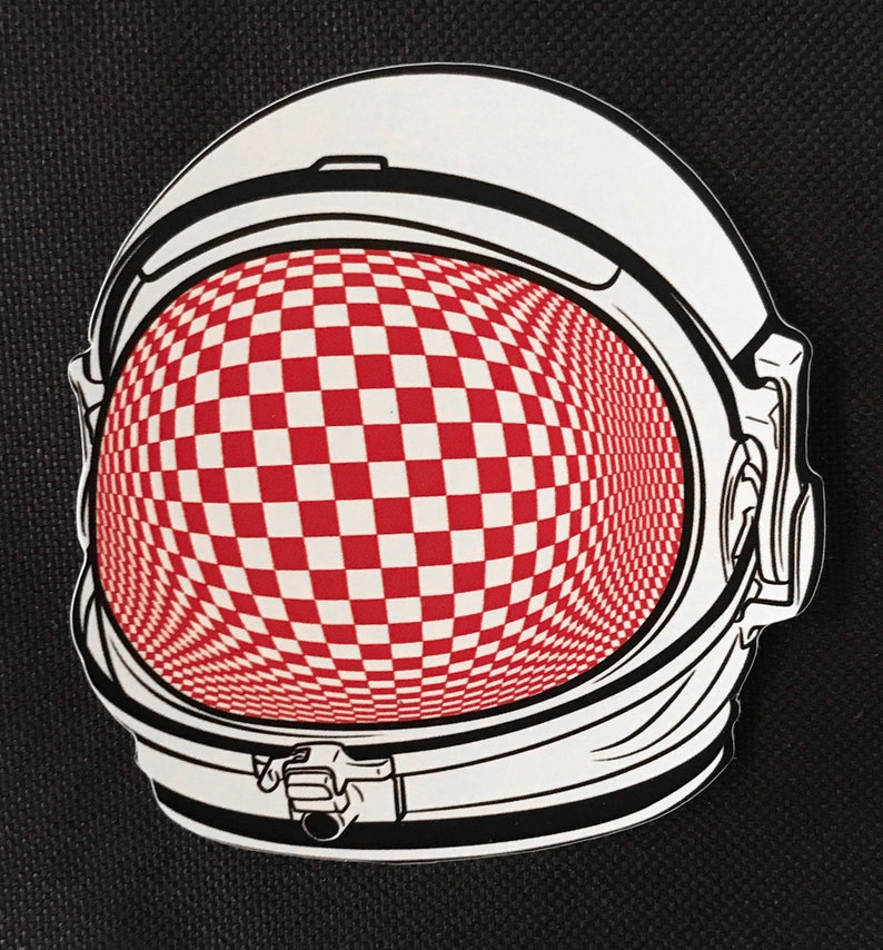 Psychedelic Astronaut Optical Art Sticker 3x3 Vinyl Die Cut image 0