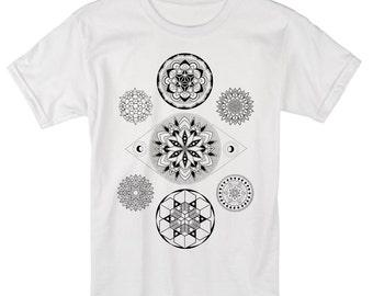 Men's 7 CHAKRAS Mandala Tee Colab Design with Sacred Geometry Tattoo Artist Corey Divine T-shirt