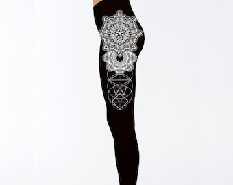 Women's REALMS Mandala Black Leggings Sacred Geometry Clothing Blackwork Tattoo Style Tights Active Wear