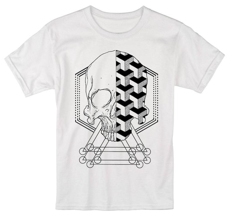 Men's Geometric Skull T-shirt Sacred Geometry Dotwork White Tee/Black