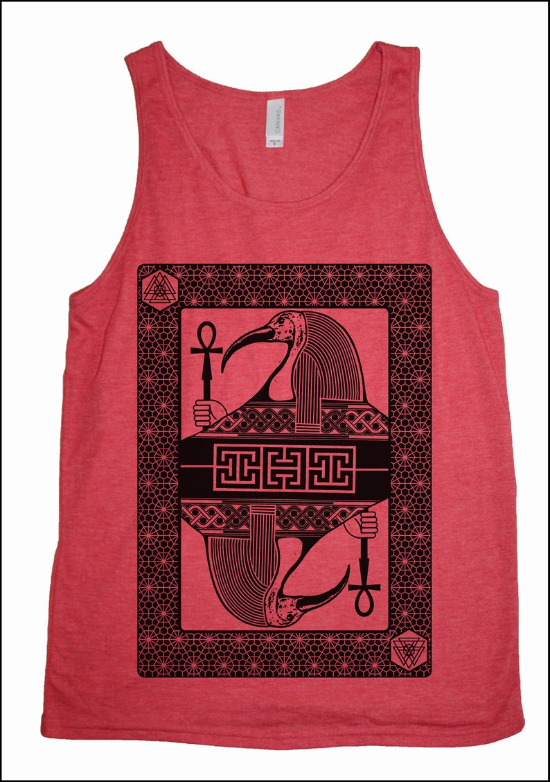 Men's THOTH Tank Top Sacred Geometry Egyptian Ancient Red Tank/Black