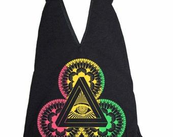 Women's POWER OF 3 Bodysuit Sacred Geometry Lotus Eye Mandala One Piece Body Suit Black