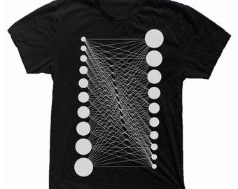 Men's ALL CONNECTED Geometric Mod Pattern Screen Printed Minimal Tee Shirt