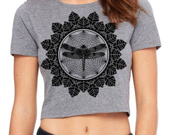 Women's Dragonfly Mandala Sacred Geometry CROP Tee Tattoo Style Psychedelic Belly Shirt