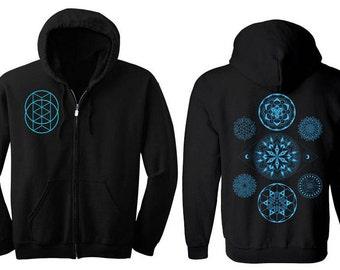 7 Chakras Mandala Hoodie Men's and Women's Vesica Hooded Sweatshirt Corey Divine Sacred Geometry Tattoo Colab