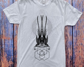 Men's Symmetrical Sparrows Tee Dotwork Sacred Geometry Symmetry Shirt