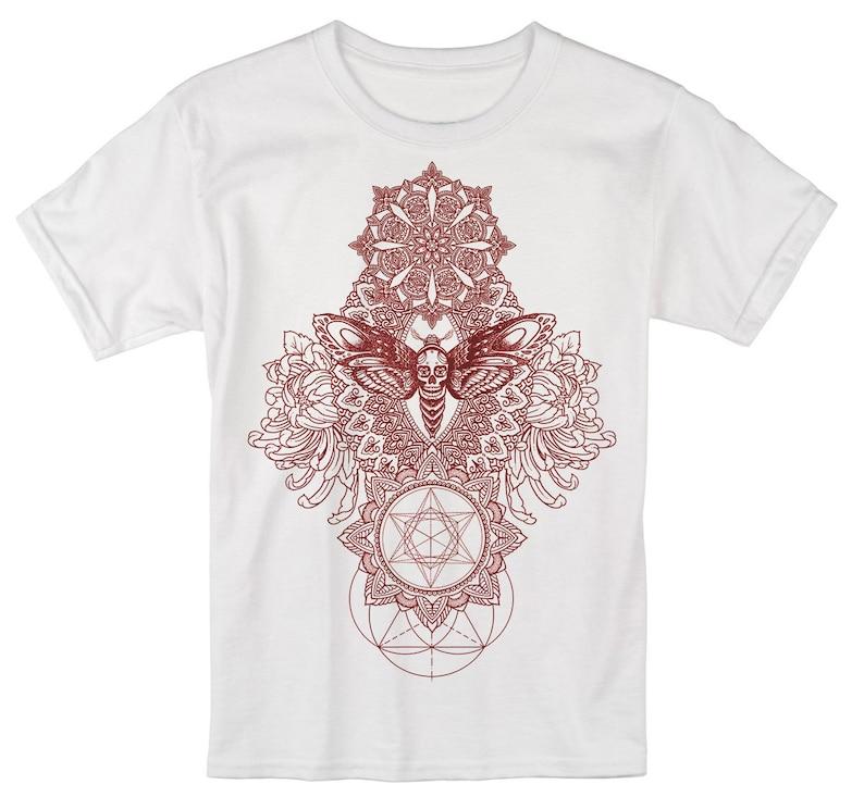 Men's IMPERMANENCE Mandala T-Shirt Psychedelic Dotwork White Tee/Red
