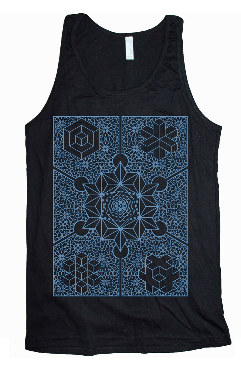 Men's INTERIORS Tank Top Waking Dream Psychedelic Form Black Tank/L. Blue