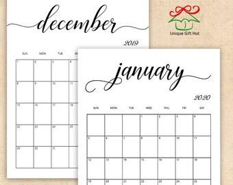 Free Printable Calendar 2019 Etsy