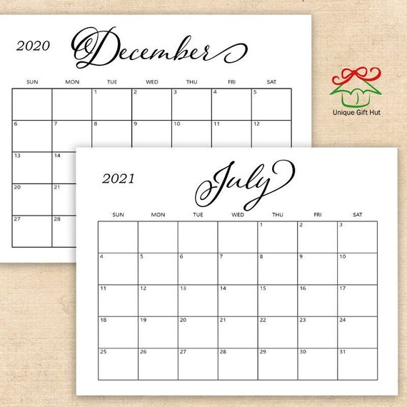 Editable Printable 2021, 2020 Simple Calligraphy Desk ...