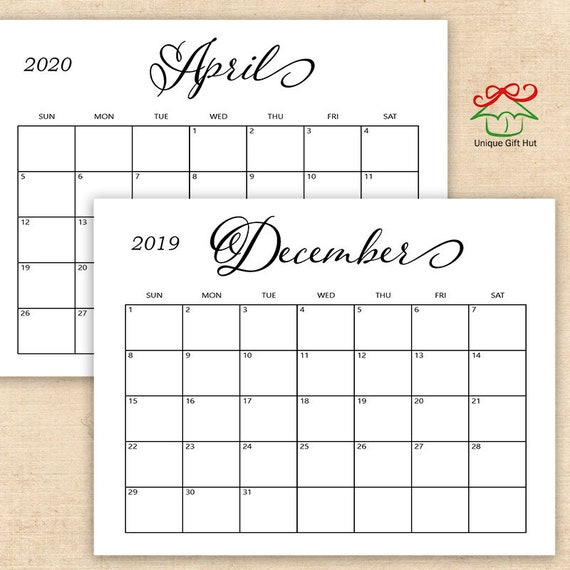 Editable Calendar January 2020 Template: Editable Printable 2019, 2020 Simple Calligraphy Desk