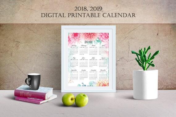 Printable 2019 2020 Watercolor Floral Wall Calendar Watercolor