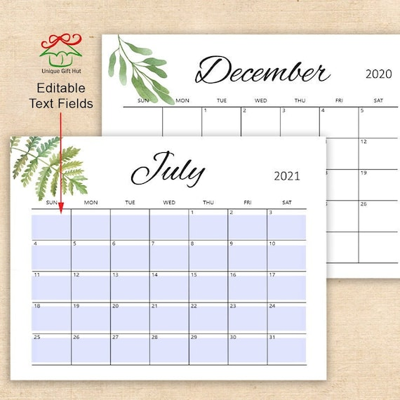 Printable Editable 2021 Watercolor Greenery Desk Calendar ...