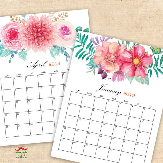 20192020 Digital Printable Calendars Watercolor Floral Desk Etsy