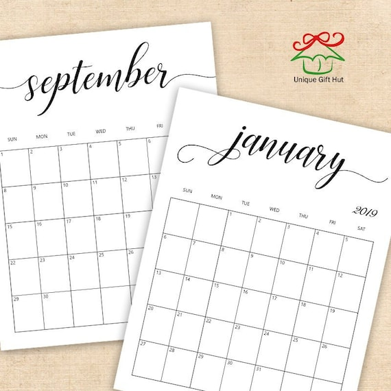 Editable Printable 2019 Clean And Simple Desk Calendar Monthly Wall