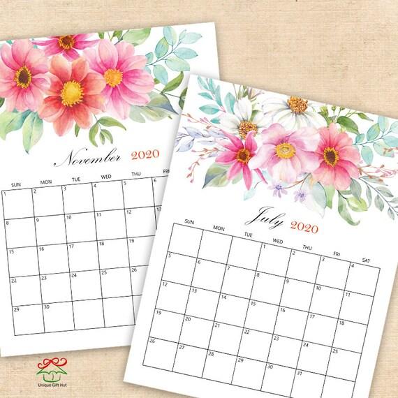 2020,2021 Digital Printable Calendars, Watercolor Floral Desk