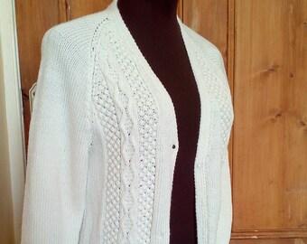 Vintage Hand Knitted White Cardigan uk 8-10