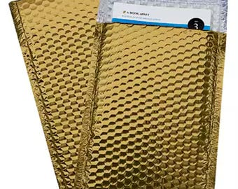 Gold Metallic Glamour Bubble Mailers 4x8 #000 for Shipping 5 10 - Rim Country Soap Supplies - Mailer Poly Envelope