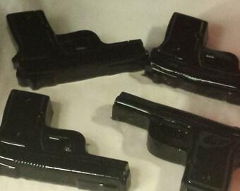 25-PK BULK Handmade Detergent Free Glycerin Soap, Gun Soap, Weapon, Favor