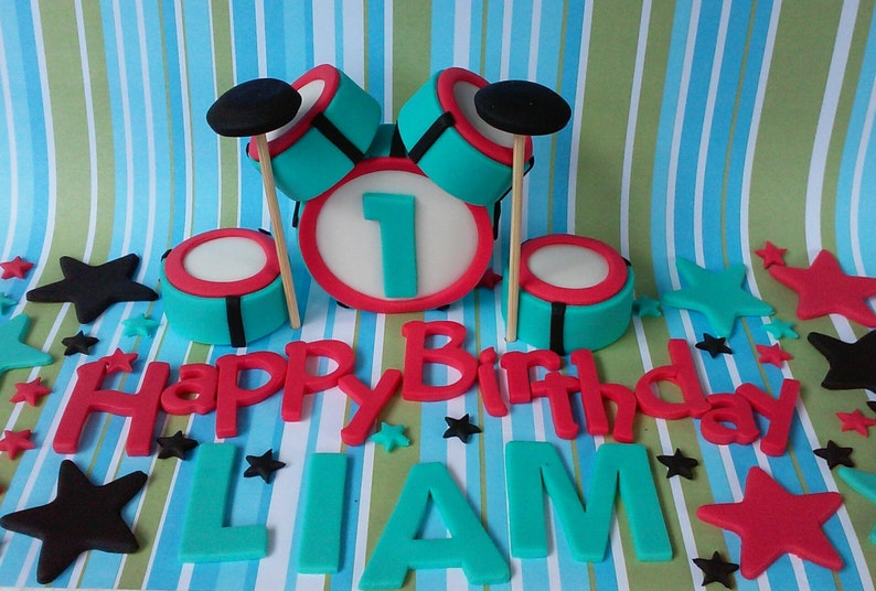 Drum Set Fondant Cake Toppers | Etsy