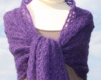 bridal shawl, knitted shawl, knit wrap, mohair wrap, knitted scarf, mohair, silk, lace, purple, violet,lilac