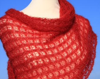 Knit shawl, mohair wrap, knit scarf, stole, mohair / silk ,red, cherry red, lace